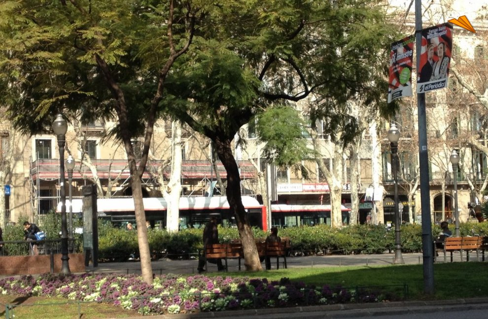 Jardines de plaza urquinaona de barcelona fotos de for Jardines de plaza