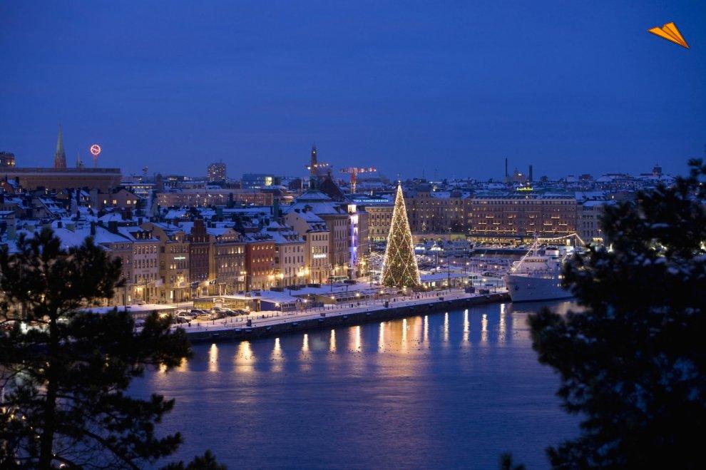 el gran rbol de navidad en skeppsbron estocolmo suecia henrik trygg image bank sweden